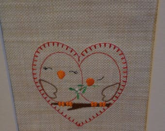 Embroidered Love Birds Picture