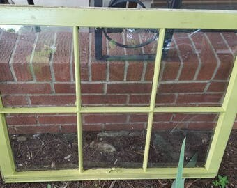 Rustic antique vintage 6 pane window sash 36x28 spring sprout lime green country farm picture frame