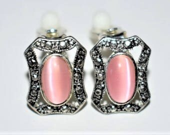 Vintage Delicate Marcasite Clip On Earrings Pink Cat's Eye Retro Estate Costume Jewelry 3/4""
