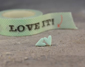 Valentine's Gift, Pastel Heart Earrings, Heart Stud Earrings, Mint Post Earrings, Gift for Her, Bridesmaids Gift