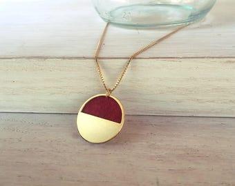 Circle pendant, circle charm, geometric necklace, gold circle necklace, red pendant, minimalist necklace, gold jewelry, yin yang pendant