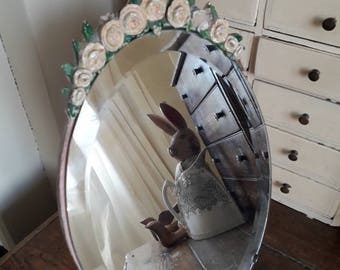 Superb vintage oval Barbola mirror with pink roses and back and bevelled glass