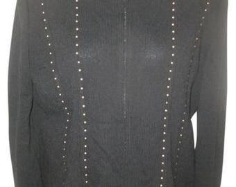 Vintage 80's St. John Collection Studded Zip Front Mandarin Black Knit Cardigan Size 8