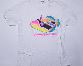 Humuhumu Nukunuku Apua'a Hawaii State Fish Vintage White T Shirt XL