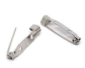 50 brooch pins 31 mm blanks in silver