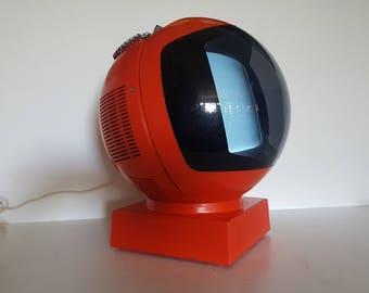 Vintage 1970s JVC Videosphere Television - Panton Kartell Era Black and White Television - Red Orange - Working
