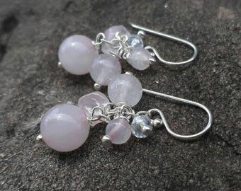 Rose quartz sterling silver earrings,stone earrings,dangle earrings,women earrings,wedding earrings