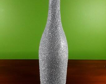 Silver Glittered Wine Bottle Centerpiece