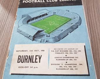 manchester city v burnley 1956 vintage football programme