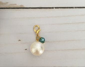 Crystal Pearl Charm- Green