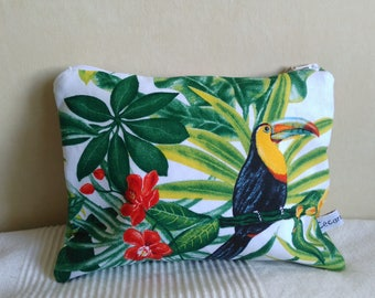 Clutch purse canvas jungle, tropical toucan green foliage
