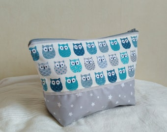 Toilet bag grey and blue patterns child owls