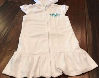Terry Hooded Swim Suit Cover Up with Embroidered Monogram or Name on Left Chest or Left Hip Above Ruffle