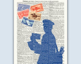 Postman Gift, Post man Mailman Poster, vintage stamps Dictionary art, Post man postal worker, postal service office, Mailman Personalized