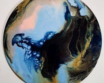 Fluid art, fluid painting, resin art, original art, abstract art, glitter art, circle art, abstract painting, modern art, contemporary