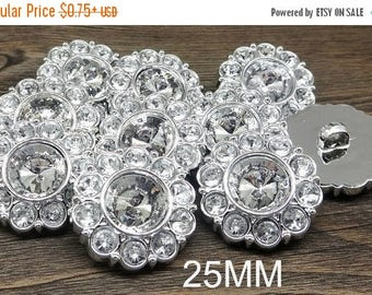 20% SALE Wholesale CRYSTAL CLEAR Rhinestone Buttons Round Buttons Garment Buttons Diy Embellishments Bridal Buttons Sewing Buttons 25mm 2997