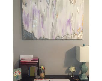 SOLD! Original abstract acrylic painting with lavender/purple, gray, silver leafing, gold leafing, and resin