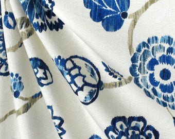 Jacobean curtains white blue curtains floral curtains jacquard blue flower drapes curtains custom curtain panel pleated bedroom curtains