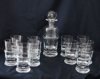 Rare Barset Regiment by Holmegaard, 11 longdrink glasses + 1 decanter, Side Werner