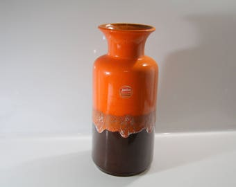 Vibrant floor vase by Jasba N6021035 WGP West German Pottery Midcentury Fat Lava