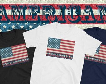 American Patriot T-Shirt Tee Patriotic Man Woman Unisex Flag U.S.A.National Pride U.S. American Citizen Stars Red Stripes Black Navy White