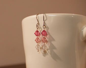Swarovski Pink and White Reverse Ombre Earrings
