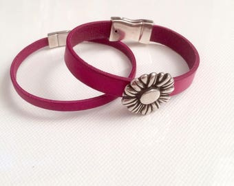 2 fuchsia leather bracelets