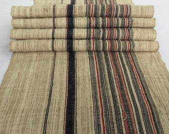 Natural Hmong hemp fabric,vintage  hemp hand dyed Hmong hill tribe -Bed runner ,Table runner from Thailand