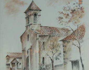 """""""Pastels and chalks on paper"""" Church of St Meard """""""