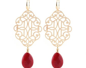 Natural stone drop earrings, filigree earrings, moroccan earrings