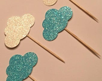 12 Cloud Toppers Glitter Toppers Blue Cloud Toppers White Cloud Toppers Baby Toppers Baby Shower Toppers Birthday Toppers Boy Toppers