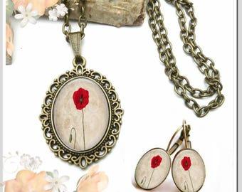Necklace Earrings Oval Small poppy set-KBO-002