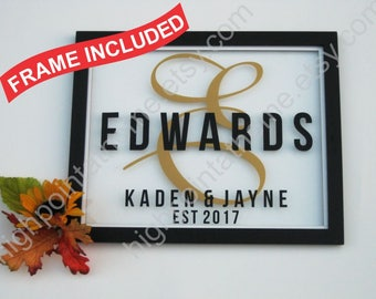 Family Name Sign - Housewarming Gift - Glass Personalized Family Name Sign -  First Home Gift- New Home - Custom Sign-  House Warming Gift