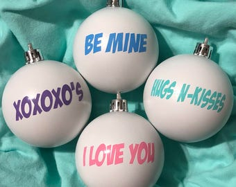 Valentine Ornaments Shatterproof Valentine's Day Ornaments Set of Four!
