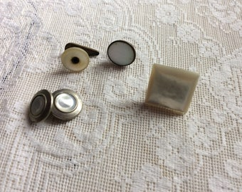Antique MOP Collar Studs and Button Lot
