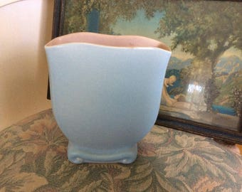 Art Deco Vase, Planter, Matte Baby Blue, Scrolled Bottom