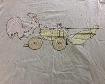 """Antique French  Baby Toddler Sheet Coverlet, Cotton, Embroidered Appliqués, 38"""" x 56"""", So....Cute!"""