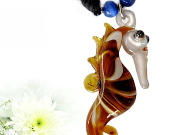 Pretty necklace with seahorses, glass figurines, glass pendants,