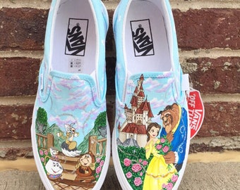 Beauty and the Beast painted Vans