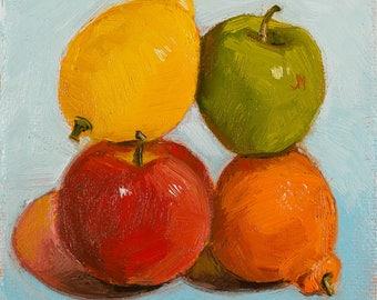 Original Oil Painting Fruit Stack Still Life