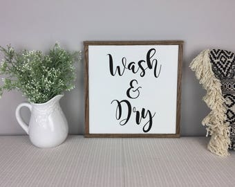 Laundry Sign | Wash and Dry Sign | Fixer Upper Decor | Laundry Room Sign
