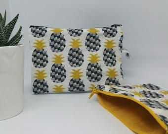 Cosmetic pouch graphic pineapple, mustard yellow and black, hand-made for women and teens - gift idea for her