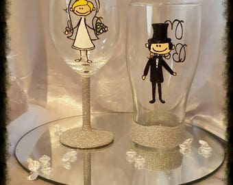 Hand painted bride and groom glasses