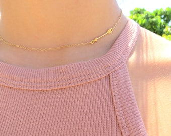 Gold Arrow Necklace, Arrow Choker Necklace, Tiny Arrow Jewelry, Silver Arrow Necklace, Sideways Arrow Pendant, Tiny Gold Arrow Necklace.