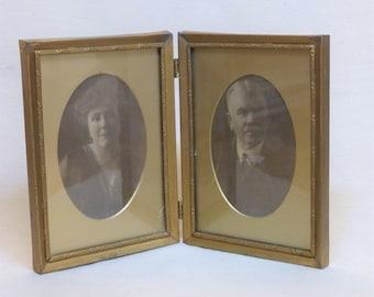 Double Frame Photos of Charming Old Couple, Double Photograph Frame with original photos