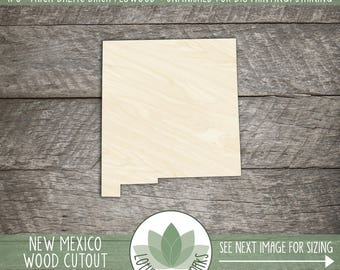 New Mexico State Wood Cut Shape Shape, Unfinished Wood New Mexico Laser Cut Shape, DIY Craft Supply, Many Size Options