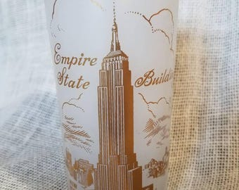 Vintage Empire State Building Souvenir, Frosted Glass and Gold Highball- NYC Skyline