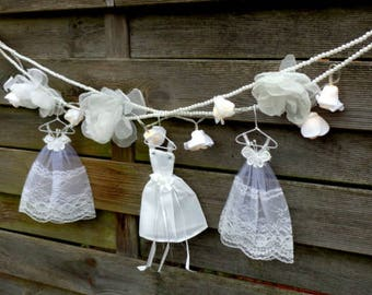 Fairy  lace light garland/ White Wedding lights garland/ Wedding decor/ Flower garland/ Lights garland/ White flowers/ Home decor.