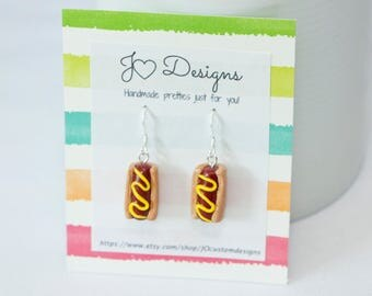 Food Earrings, Miniature Food, Polymer Earrings, Polymer Food, Hot Dog Earrings, Polymer Clay Charms