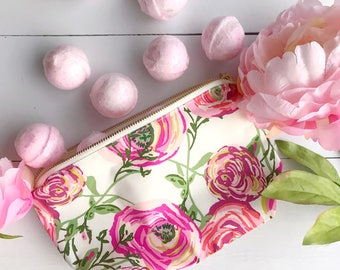 Floral Cosmetics Bag | Black and Cream Script Make-Up Bag | Zipper Pouch | Pencil Pouch for an Organized Purse | Diaper Bag | Galentines Day